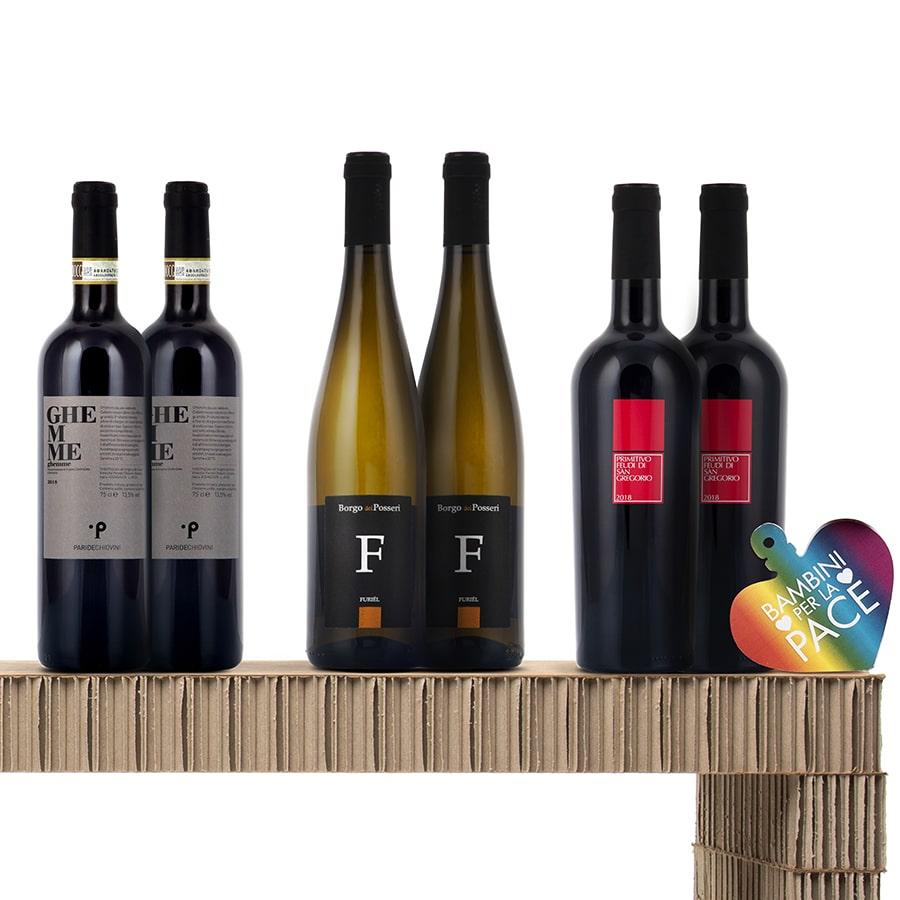 Confezioni Vino Tradizione Italiana: Spumante Chardonnay, Chianti e Bianco di Custoza