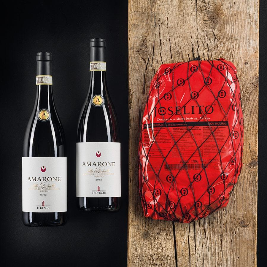 Confezione Regalo Natale: 2 Bottiglie di Vino Amarone e Pata Negra di Joselito