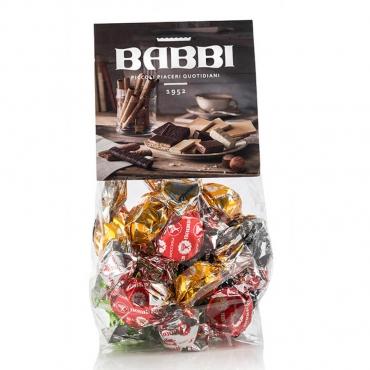 """""""Bon Bon"""" Finissime Praline Ripiene di Nocciola, Pistacchio, Zabaione e Cioccolato Fondente Babbi g 198 circa"""