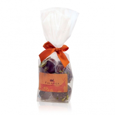 Falanga chocolate covered biscuits coated with pistachios grains in a bag - 90 g